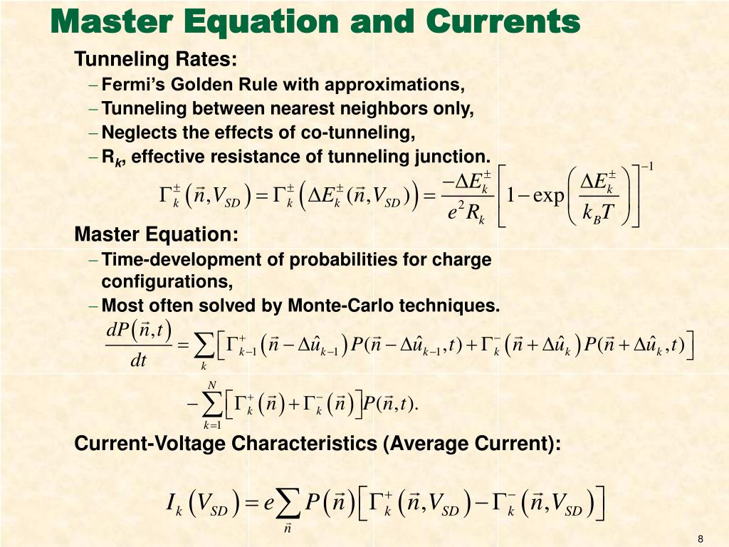 Master Equation and Currents