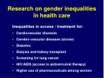 research on gender inequalities in health care