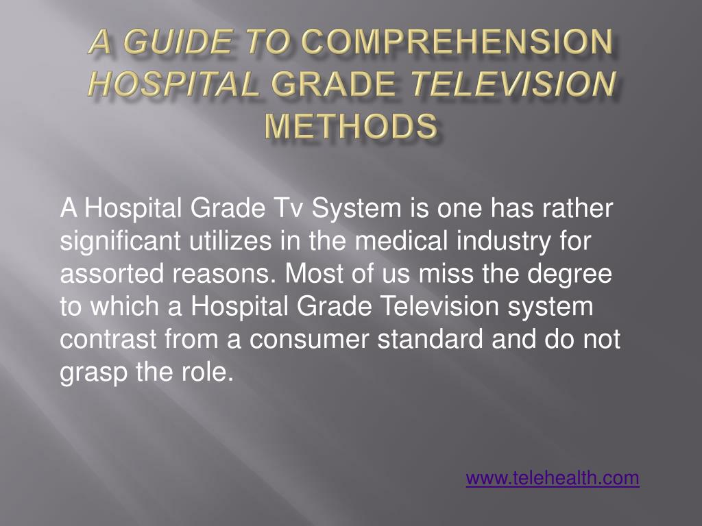 a guide to comprehension hospital grade television methods l.