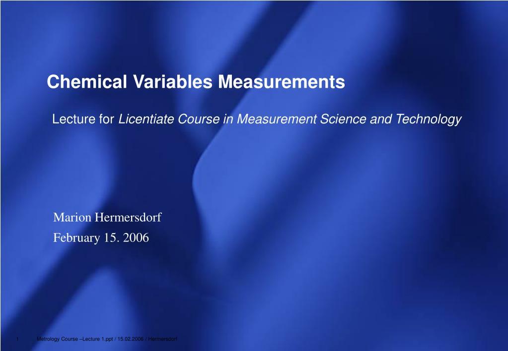 chemical variables measurements l.