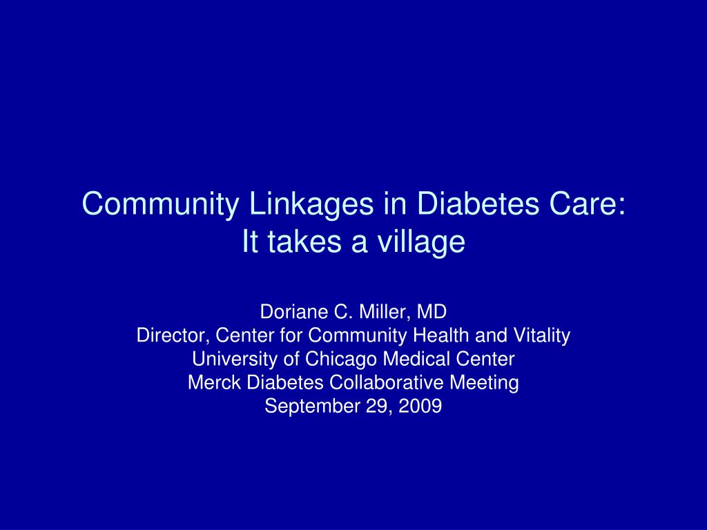 community linkages in diabetes care it takes a village l.