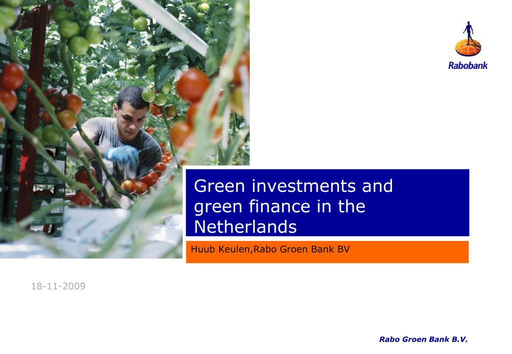 green investments and green finance in the netherlands l.