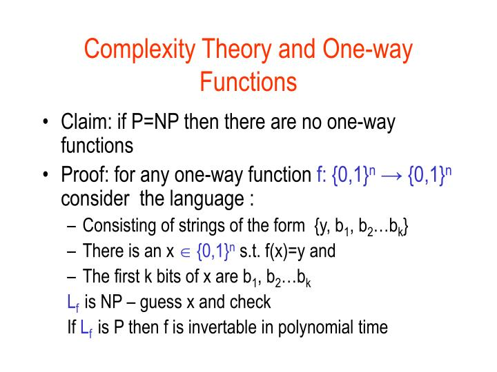 Complexity Theory and One-way Functions