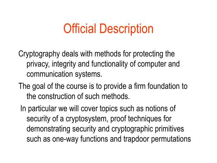 Official Description