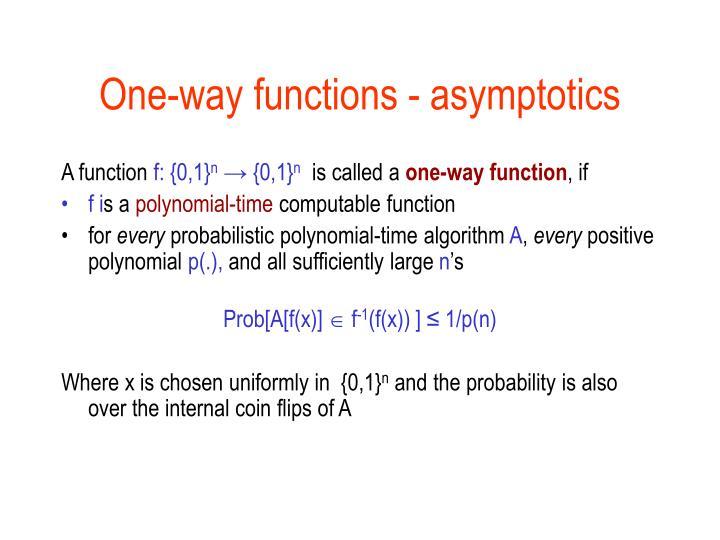 One-way functions - asymptotics