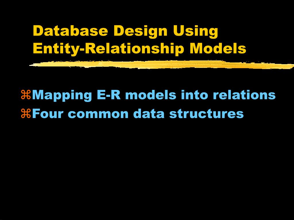 database design using entity relationship models l.