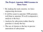 the project annotate 1000 genomes in three years