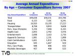 average annual expenditures by age consumer expenditure survey 2007