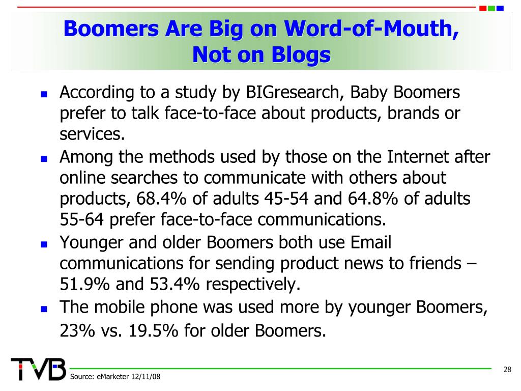 Boomers Are Big on Word-of-Mouth,