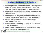 daily activities of u s seniors