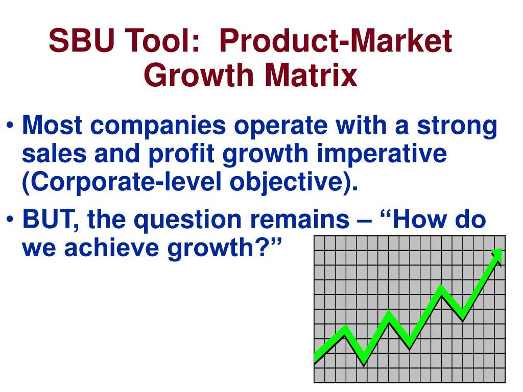 SBU Tool:  Product-Market Growth Matrix