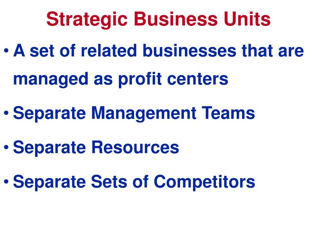 Strategic Business Units