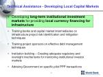 technical assistance developing local capital markets