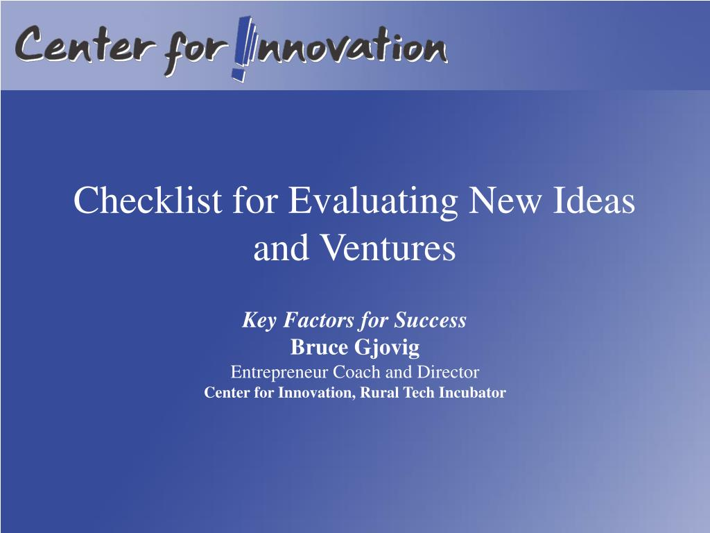 checklist for evaluating new ideas and ventures l.