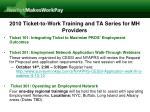 2010 ticket to work training and ta series for mh providers