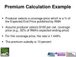premium calculation example