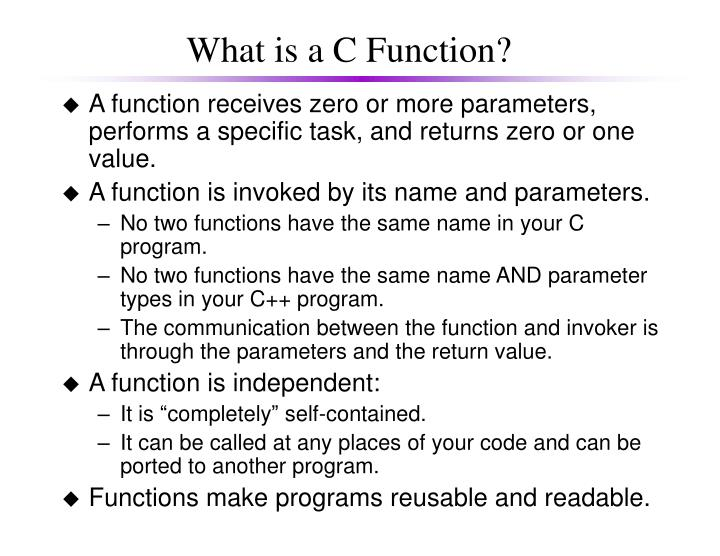 What is a c function