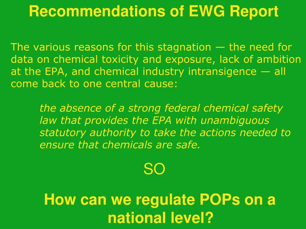 Recommendations of EWG Report