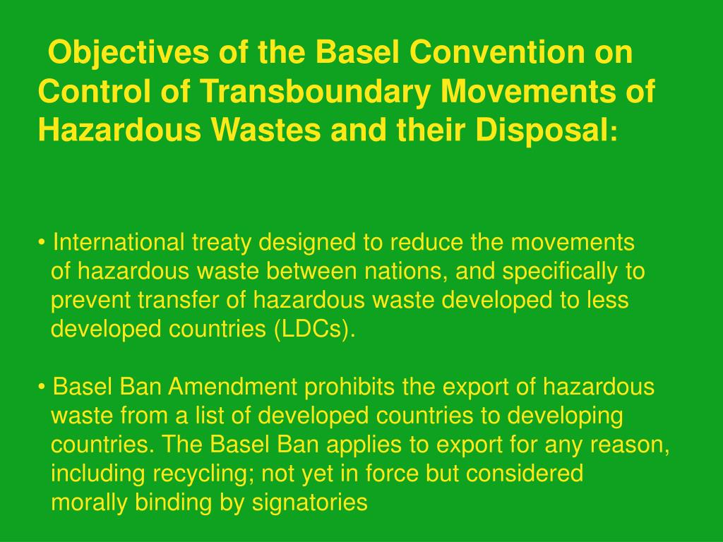 Objectives of the Basel Convention on