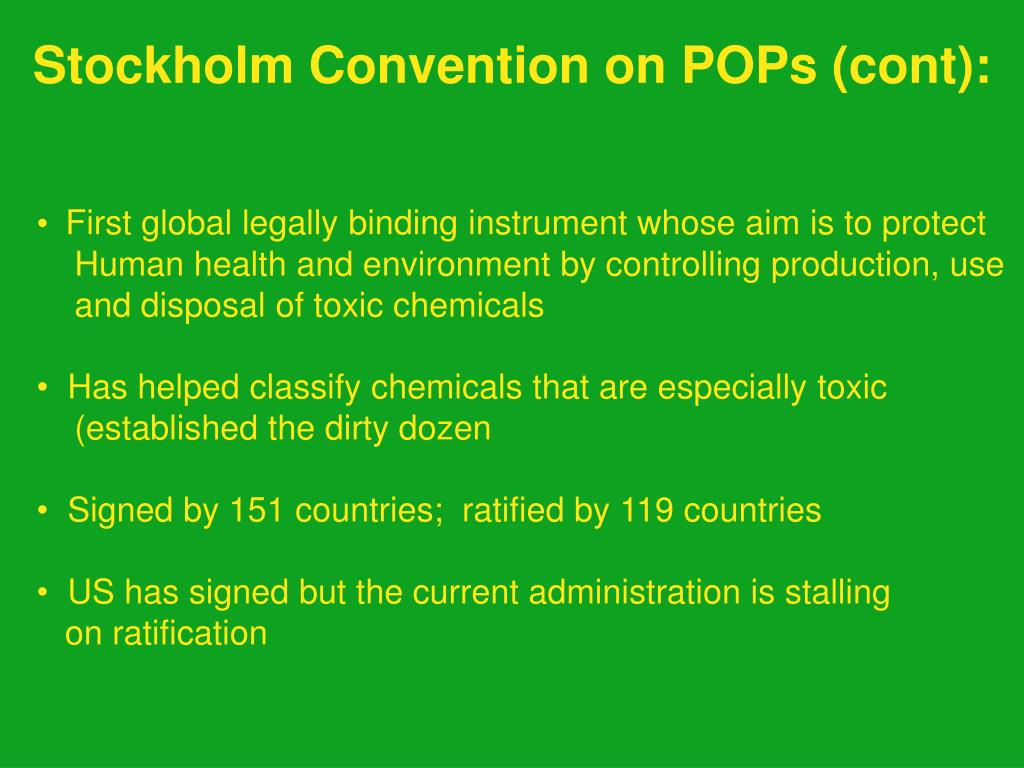 Stockholm Convention on POPs (cont):
