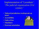 implementation of leemhuis the judicial organisation 21st century