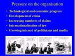 pressure on the organisation