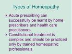 types of homeopathy