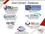 asian content databases