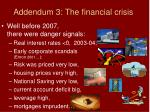 addendum 3 the financial crisis