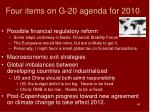 four items on g 20 agenda for 2010