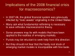 implications of the 2008 financial crisis for macroeconomics