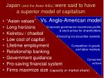 japan and the asian nies were said to have a superior model of capitalism