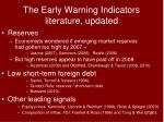 the early warning indicators literature updated