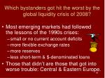 which bystanders got hit the worst by the global liquidity crisis of 2008