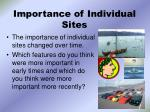 importance of individual sites
