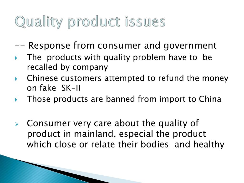Quality product issues