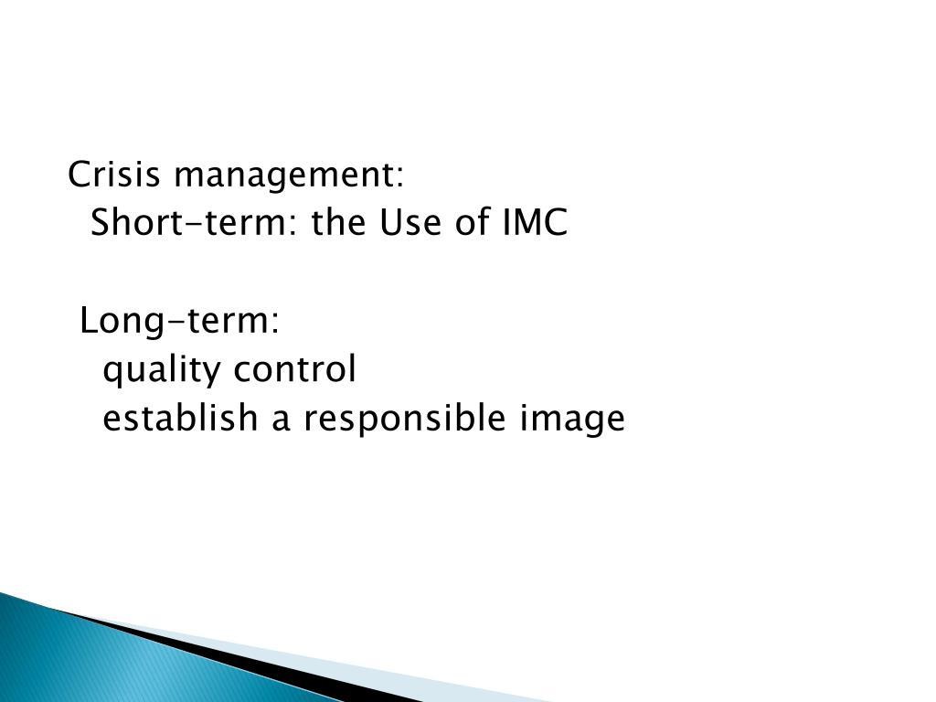 Crisis management: