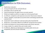 contribution to poa outcomes