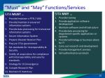 must and may functions services