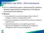 sita future apr 2010 2015 and beyond