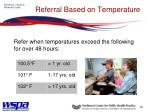 referral based on temperature