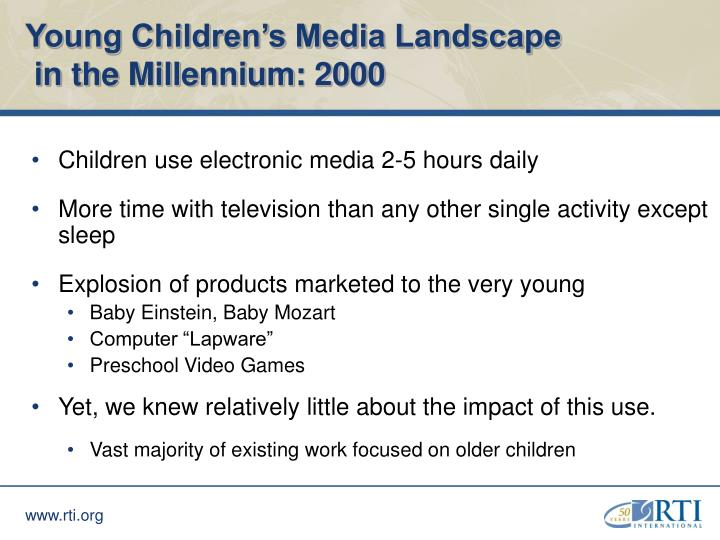 Young children s media landscape in the millennium 2000