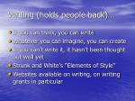 writing holds people back