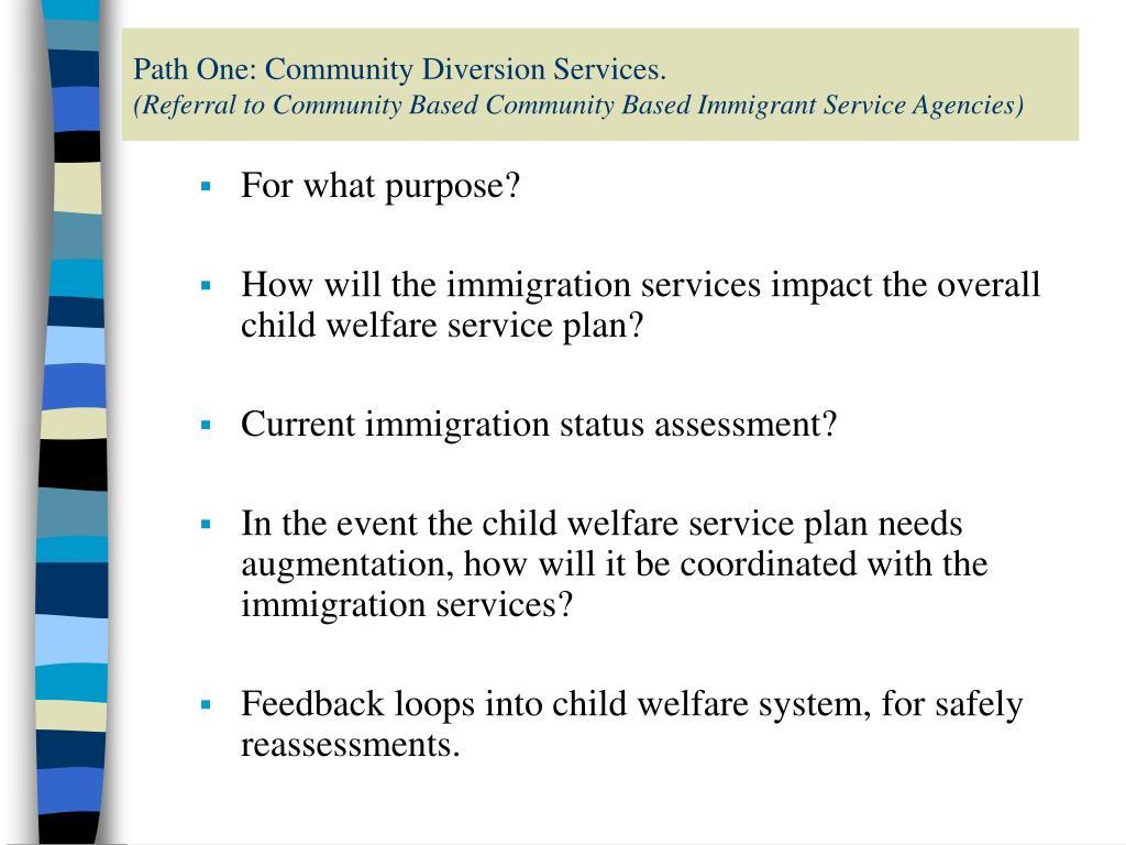Path One: Community Diversion Services.