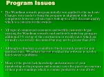 program issues
