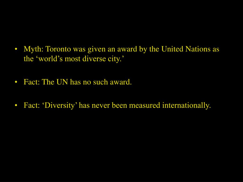 Myth: Toronto was given an award by the United Nations as the 'world's most diverse city.'