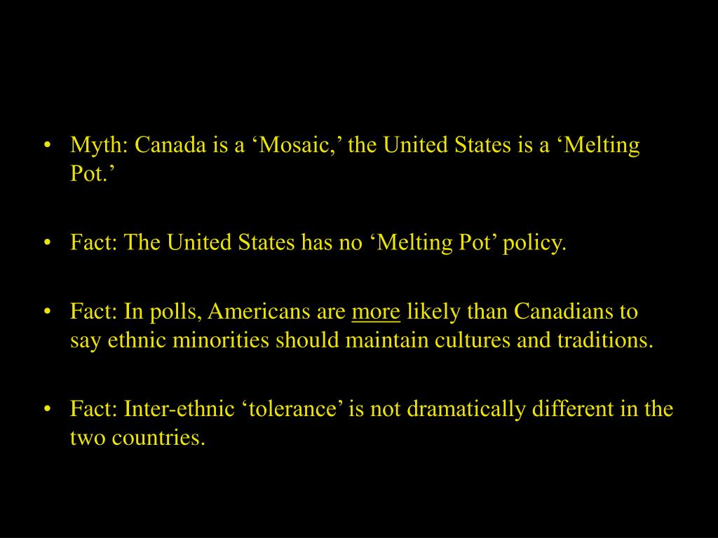 Myth: Canada is a 'Mosaic,' the United States is a 'Melting Pot.'
