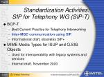 standardization activities sip for telephony wg sip t