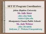 set it program coordinators