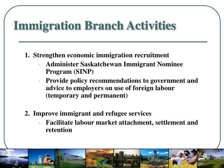 Immigration branch activities